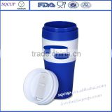 2016 new double wall stainless steel insulated plastic coffee mug and plastic thermo mug with logo