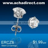 Steel Prong Set 8mm Round Cubic Zirconia (Cz) Earring Studs-Loose Pair