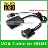 Portable 1080P VGA to HDMI Cable Adapter w/ USB Powered Audio VGA to HDMI Converter fr Notebook PC DVD and Computer