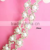 Hot selling 2 rows pearl rhinestone trim for bridal sash wedding sash Wedding belt (RT-4022)