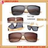 Wooden Bamboo Sunglasses Men's Bamboo Wood Sunglasses in Vintage Style with Plastic Frame and Polarized UV Colorful L                                                                         Quality Choice