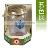Electronic Blue Butterfly in a Jar Charming Fluttering Butterfly Jay Creative Solar Butterfly Gifts for Children