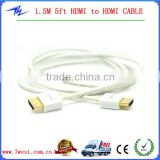 White Colour High Quality 1.5M 5ft HDMI to HDMI CABLE 1.4V Male to Male full 1080P 3D for DVD HDTV LCD