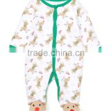 2016 Green White Cotton Infant Reindeer Footie Cute Animal Pattern Baby Romper Casual Children Clothes G-NPRR90628-2