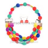 2016 Color Jewelry Suit Circular Imitation Pearl Necklace& Ring Set                                                                         Quality Choice