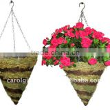 Green Moss and Brushwood Cone hanging planter - Moss hanging basket - Green Moss hanging flower pot