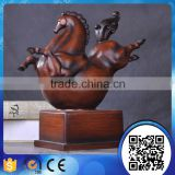 Hot sale high quality resin horse sculpture with wood carved for home decor