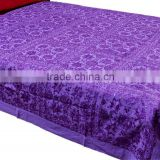 Luxury Indian Bedspread decorative unique embroidery with REAL MIRROR WORK