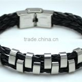 Wholesale Multilayer Braided Leather Bracelets Rivet Each Layer Rope Black Leather Mens Bracelets For Daily Using