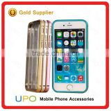 [UPO] Clear Slim Transparent Hard PC Plastic Back Cover Aluminum Alloy Frame Bumper Case for iPhone 6/ 6 plus