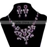 Wholesale cheap beautiful indian purple rhinestone crystal butterfly flower bridal necklace jewelry sets
