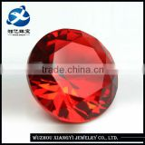 Sexy large bright red cheap fine round brilliant cut synthetic rough gemstone 19mm crystal glass stone ruby prices
