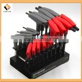 18pcs Offset SAE&Metric T-handle Ball Head End Hex Key Wrench Set Black CR-V t bar handle