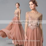 Wholesale Good Quality New Cheap Lace formal Cap Sleeve Beach Short Bridesmaid Dress with sash LB44