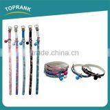 China pet collar making supplies, fashion decorate printing pu leather dog collar with bell