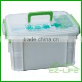 PP plastic home use basic tool car survival first aid medical CE/FDA/MSDS/DIN storage box tray with handle and latch lid