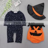 China supplier Halloween 3pcs baby romper clothes set for girl,including two rompers and hat import from china