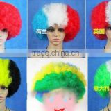 Disco Rainbow Color Party Afro Clown Hair Football Fan Adult Child Costume Curly Wig