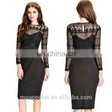 wholesale black lace layered pleated skirt dress long sleeve midi dresses evening pencil skirt dress