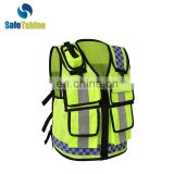 Hot selling high quality reflective safety production new design vest with multi-pocket for mens