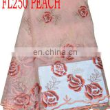african french lace with sequins(FL250 peach )