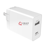 Black 30W Power Delivery USB C Wall Charger / Dual USB Port Charger