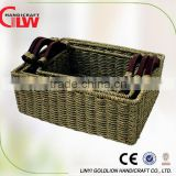 Set of 3 seagrass storage basket with wooden handle