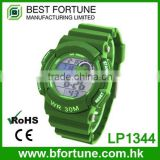 LP1344_GN Green color LCD Display Chrono Alarm Date/Day Tech digital Chinese electroni watch