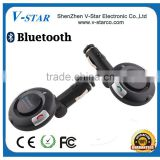 Bluetooth handsfree car kit with audio base, connects to AUX jack of your vehicle to enjoy the music and make a phone call