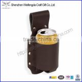 Hot top grade genuine leather beer holster fits beer can