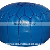 Wholesale of Moroccan blue leather Pouffe Ottoman Footstool Pouffe handstitched Ottomans