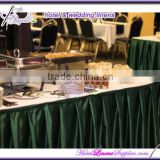 hunter green satin fitted table skirts with box pleats, with topper for wedding events