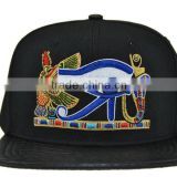 alibaba trade assurance manufactory custom 6 panel leather back snap back hat with embroidery logo faxu snakeskin brim