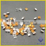 AAA grade hot selling artificial square shae point back gold bottom crystal stone for wedding decoration