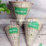 Half conical willow wall hanging basket with plastic lining