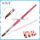 ANY Nail Art Care Red Wood Handle Pure Sable Nail Acrylic Brush Manufacturers for Sale