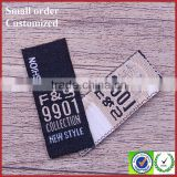 Black small tags labels woven for t-shirts asset tag label