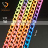 Gradient colorful small curb aluminum chain