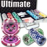 Ultimate Casino ABS Sticker Poker Chip Set with Aluminum Case - 300 Piece