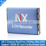 Real time 25fps 2ch Mini DVR Board MPEG-4 Video Compression Motion Detection vga 640*480 Support SD Card 128GB