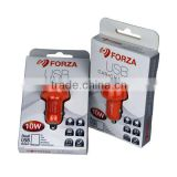 FORZA 5.0V/2.1A Dual USB Car Charger with clamshell packaging