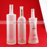 Custom made cheap printing frosted alcohol bottles paint white glass bottle screen printing wine bottles