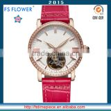 FS FLOWER - Women Fashion Fire Pattern Dial Leather Strap Hand Watch Automatic Mechanical