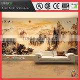 Good price Landscape designed embossed hand paint silk wallpaper interior decoration