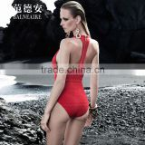 Balneaire Queen 2016 sexy women one piece backless zipper swimwear red color
