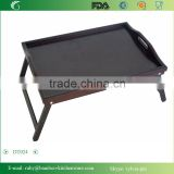 DT024/OEM Black Color Bamboo Tray TV Laptop Tray Bedroom with Paiting Food Table Disk Trays with legs