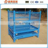 Stackable collapsible storage wire mesh steel pallet box