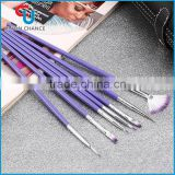 Pro 7Pcs Purple Manicure Brush Set Makeup Crystal Nail Art Polish Brush Kits