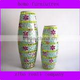 Drum Shape Flower Butterfly Decor Hand Blown Mosaic Glass Colored Cheap Classic Flower Vases