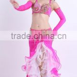 Erotic women hot pink bra and belt for bellydance AS6032-AQ6032